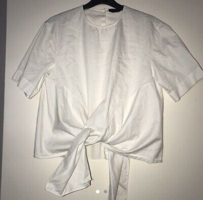 Zara Women White Tie Up Front Button Up Back Shirt Top Size Xs 6/8 • 5£