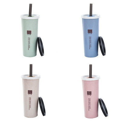 £7.52 • Buy Water Cup With Straw Cola Coffee Cups Wheat Straw Plastic Healthy Drink BotU AP
