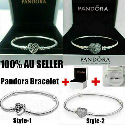 AU29.49 • Buy Genuine PANDORA Moments Heart Clasp Snake Chain 925Silver Bracelet +Box