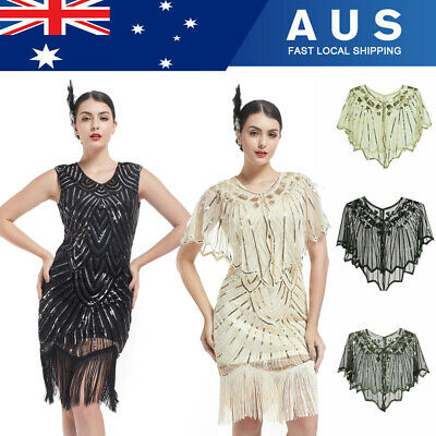 AU20.99 • Buy Vintage Great Gatsby Costume 1920's Cocktail Party Sequin Fringe Flapper Dress N