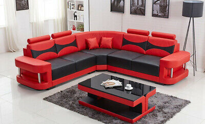 AU199 • Buy Lounge Sofa Couch L Shape With Coffee Table Black,red,white Furniture