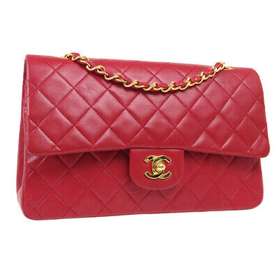 £4976.25 • Buy CHANEL Classic Double Flap Medium Chain Shoulder Bag 1256692 Red Leather 35908