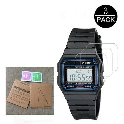 $ CDN5.44 • Buy 3x Tempered Glass Screen Protector For Casio Men's F91W-1 Resin Strap Watch Plus