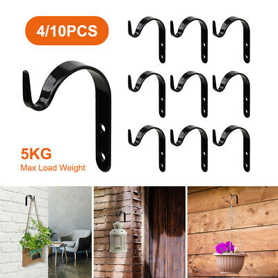 4//10Pcs Garden Hanging Wall Brackets Outdoor Basket Plant Pot Hook Hanger Decor