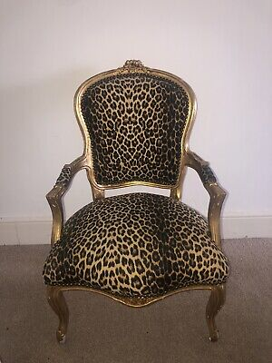 £120 • Buy Louis Xv Arm Chair French Style Chair Vintage Furniture Leopard