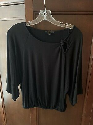 $ CDN11.36 • Buy Ella Moss Anthropologie Size XS Black Knit Top With Keyhole Tie. EXCELLENT