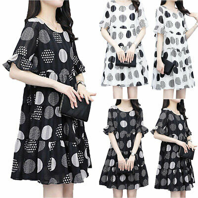 Womens Ladies Polka Dot Short Sleeve Smock Dress Office Casual Loose Dresses • 15.19£