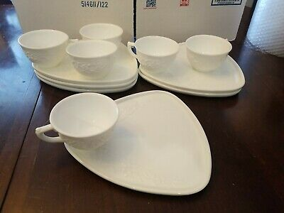 $16.77 • Buy Set Of 6 Indiana Colony Milk Glass Orange Blossom Snack Luncheon Cup Plate Sets