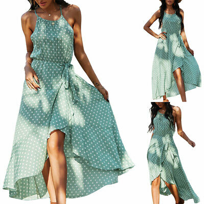 Women Polka Dot Sleeveless Ruffle Slip Dress Ladies Casual Holiday Beach Dresses • 22.19£