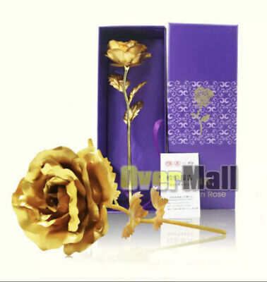 AU13.67 • Buy 24k Gold Plated Foil Rose Flower Long Stem Dipped Valentines Day Gift For Her