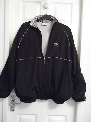 VINTAGE ADIDAS 80's SHELL SUIT JACKET ONLY COLOUR: BLACK  SIZE: 44 / 46   • 37.99£
