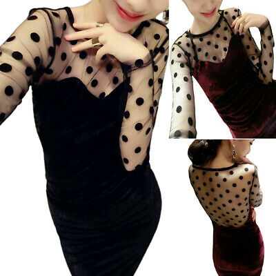 Women Ladies Gold Velvet Lace Polka Dot Printed Long Sleeve Casual Party Dresses • 16.39£