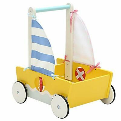 Yellow Wooden Stylish Baby Walkers, 2-in-1 Use As Push Along Toys, Cute Sailboat • 54.99£