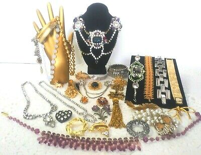 $ CDN220.90 • Buy Vintage Signed Rhinestone Jewelry Lot Czech Bijoux MG W Germany Trifari +++ F14