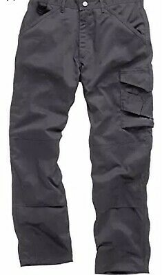 NEW SCRUFFS MENS GRAPHITE WORK TROUSERS 40W 33L CARGO COMBAT KNEE PAD Free Laces • 12.50£