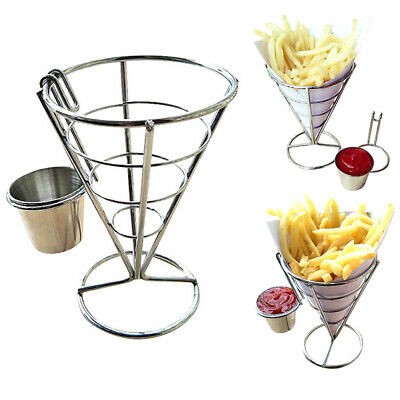 £6.99 • Buy Fries Foods Stand Holder French Fry Chips Cone Metal Wire Basket + Sauce Dippers