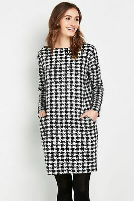 £9.99 • Buy Wallis Womens Black Dogtooth Knitted Short Dress Long Sleeve Round Neck