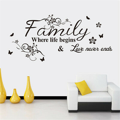 £5.88 • Buy Family Where Life Begins And Love Never Ends Wall Decal Decor Sticker  H;JY