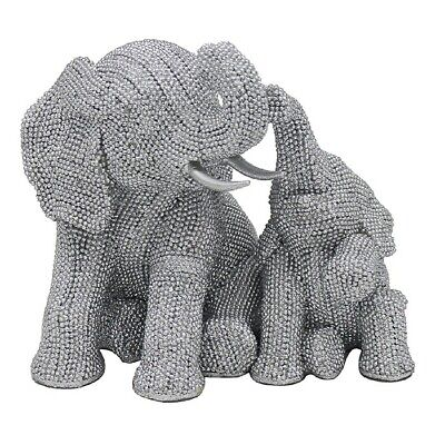 £17.90 • Buy Silver Sparkling Diamante Art Sitting Elephant And Baby Ornament Bling LP46423