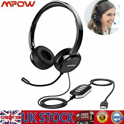MPOW BH071 USB 3.5mm Wired Computer PC Headset Headphones W/ MIC- Skype, Webinar • 20.49£