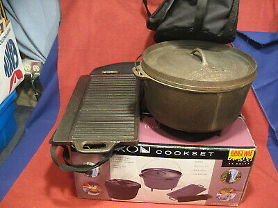 $ CDN95.15 • Buy Kelty DUTCH OVEN  With Lid Iron Kettle 3 Legs Flanged Lid 9 Qt  W/ GRIDDLE