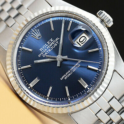 $ CDN6041.22 • Buy Rolex Mens Datejust Blue Dial 18k White Gold/stainless Steel Watch & Rolex Band