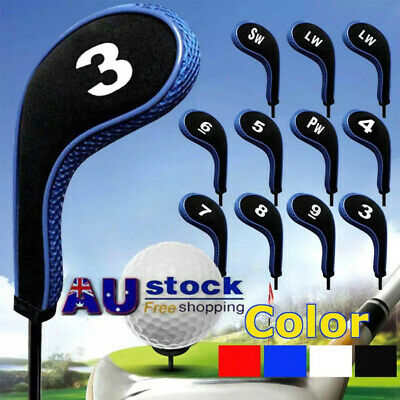 AU24.69 • Buy 12pcs/set Number Print Golf Hybrid Club Iron Head Covers With Zipper Long Neck