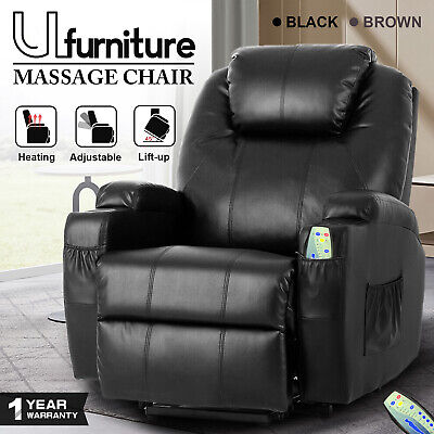 AU519.90 • Buy 8 Point Massage Recliner Electric Heated Lift Armchair Leather Lounge Sofa Chair
