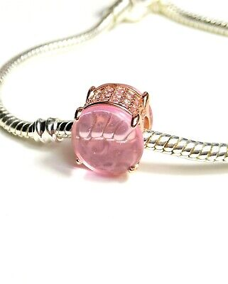 AU18.50 • Buy Rose Gold Pink Oval Cabochon Charm Dangle BEAD SILVER 925 EUROPEAN CHARM BEAD