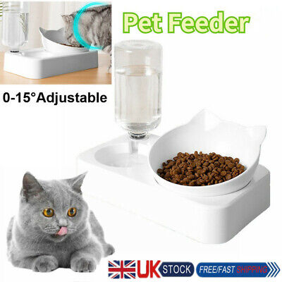 Adjustable Automatic Pet Feeder Cat Dog Food Dispenser&Water Drink Bowl Dish • 7.69£