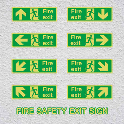 8ps Fire Exit Sign,Luminous Sticker,Emergency,Escape,Fire Drill,Guidance Signage • 9.35£