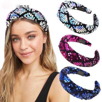 $ CDN5.28 • Buy New Sequins Sponge Headband For Women Wide Hair Band Hoop Girls Hair Accessories