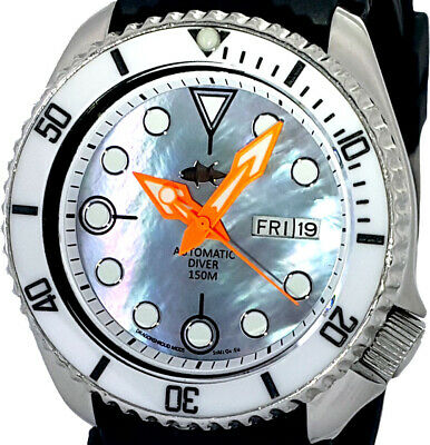 $ CDN5.41 • Buy Vintage SEIKO 6309 Diver Mod W/Neon Orange Spear Set * Grey Mother Of Pearl Dial