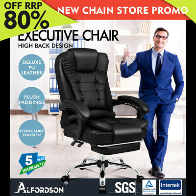 AU169.85 • Buy ALFORDSON Office Chair Gaming Executive Computer Racer Footrest PU Leather Seat