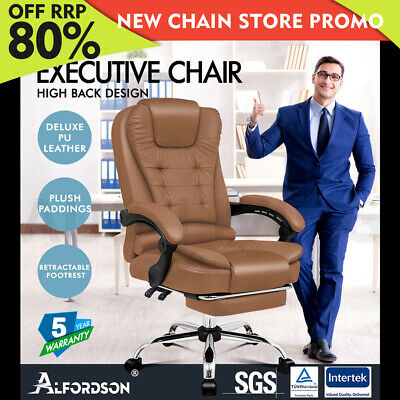 AU149.85 • Buy ALFORDSON Office Chair Gaming Executive Computer Racer Footrest PU Leather Seat