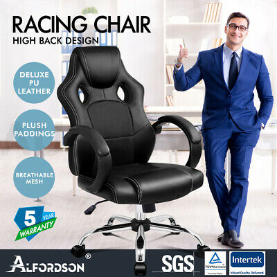 AU109.85 • Buy ALFORDSON Gaming Office Chair Racing Executive Computer PU Leather Mesh Seat