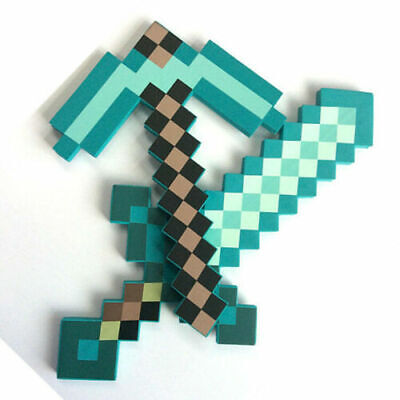 AU19.88 • Buy Minecraft Game Large Diamond Sword Pickaxe EVA Weapons Prop Toy Kids Gift