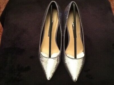 Womens Silver/Pewter Sequin Court Party Shoe Size 3 By Dorothy Perkins • 5£
