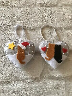 Set Of 2 Handmade Felt Hanging Christmas Tree Decorations. • 3.50£