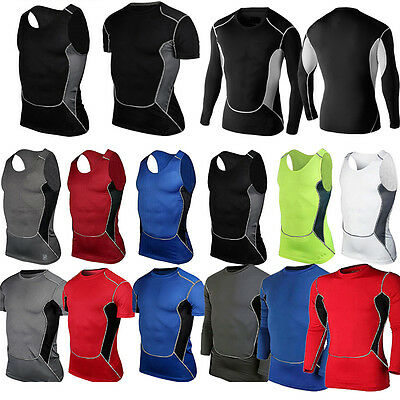 Men's Compression Under Base Layer Tops Sports T-Shirts Vest Workout Sportswear • 9.79£