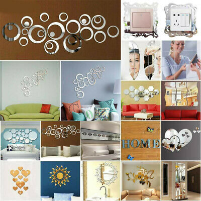 Effect Acrylic Mirror Tile Wall Sticker Stick-On Room Art Decals Home Decoration • 5.84£