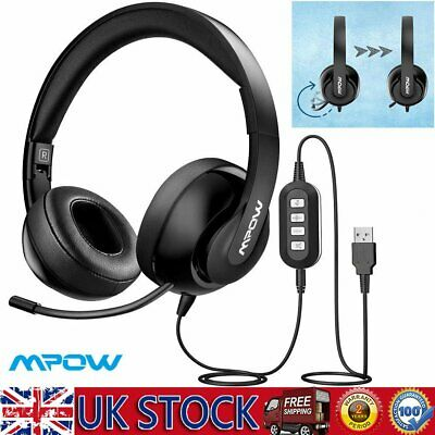 Mpow 224 3.5mm/USB Stereo Headset Headphones For Skype PC Laptop Noise Canceling • 21.79£