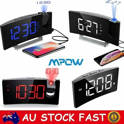 AU49.88 • Buy Mpow LED Digital Projection Alarm Clock FM Radio Snooze Dimmable W/ USB Charging