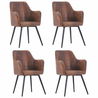 AU456.99 • Buy VidaXL 4x Dining Chairs Brown Faux Suede Leather Dinner Room Seat Furniture