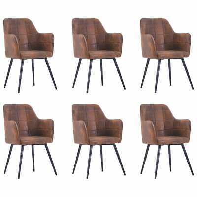 AU671.99 • Buy VidaXL 6x Dining Chairs Brown Faux Suede Leather Dinner Room Seat Furniture