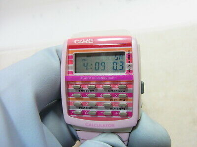 $ CDN76.12 • Buy Casio Pink Calculator Women's Unisex Qz Digital Watch LDF-40 All Working EX
