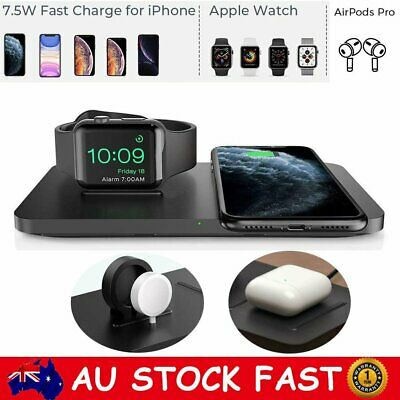 AU26.88 • Buy 2in1 Qi Wireless Charger Fast Charging Dock Stand For Apple Watch IPhone Samsung