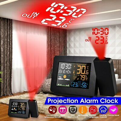 AU50.24 • Buy Digital LED Projection Snooze Alarm Clock Time Temperature Weather Projector AUS