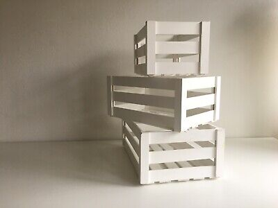 Wooden Crate White Box Small (set Of 3) • 8£