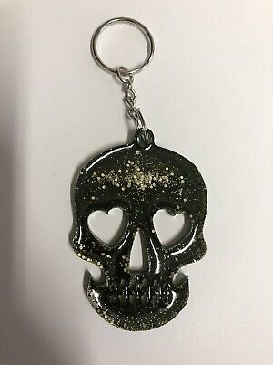 NEW Handmade Resin Skull Keyring - Dark Green/Black Glitter • 2.49£